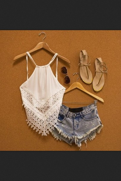 tank top boho crochet lace white halter top blouse top summer look shorts jeans shoes crop tops summer outfits white top crop tops lace top sandals denim shorts ripped shorts cross blonde hair orange shirt shirt lace crop top denim shorts sunglasses white crop tops white shirt beach shirt
