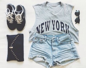 tank top shorts sunglasses shoes bag grey new york city new-york sneakers black eyeglasses eyeglasses style fashion new york cut off shorts cute blouse t-shirt i want all perfect nike black b&w shirt high waisted shorts crop tops nike running shoes hot pants top