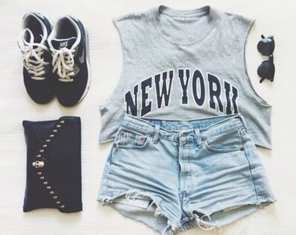 eyeglasses black eyeglasses tank top shorts grey nyc new-york sneakers style fashion sunglasses shoes bag cute new york city cut off shorts blouse t-shirt i want all perfect nike black b&w shirt new york High waisted shorts crop tops nike running shoes hot pants top