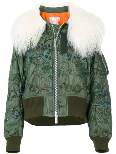 Sacai jacket bomber jacket cropped fur women cotton green