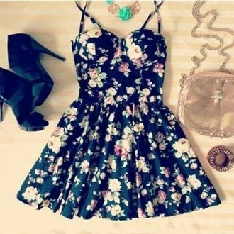 dress flowers roses black pink