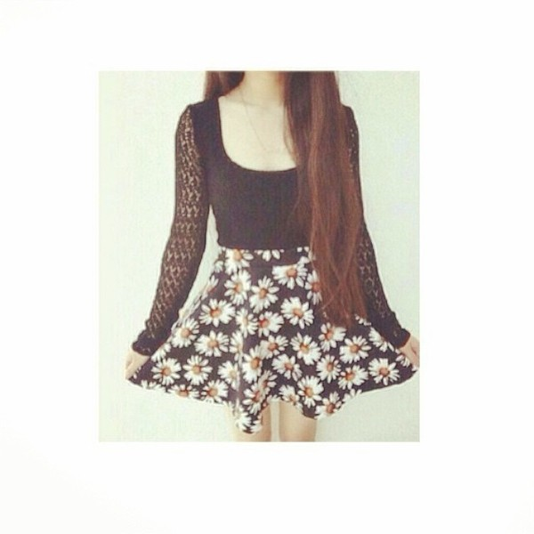 dress black and weight vintage style floral daisy cute outfits nice fashion pretty lace skater skirt shirt