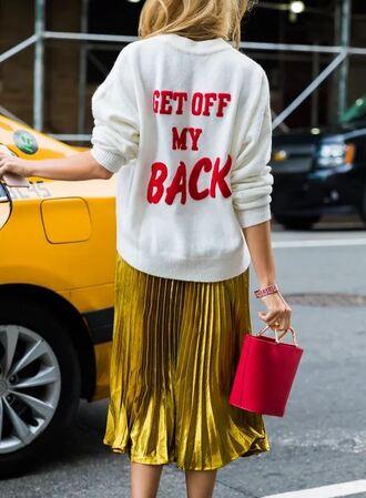 sweater pleated streetstyle nyfw 2017 ny fashion week 2017 metallic midi skirt