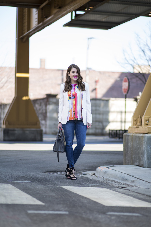 sequins and stripes t-shirt jacket shoes bag