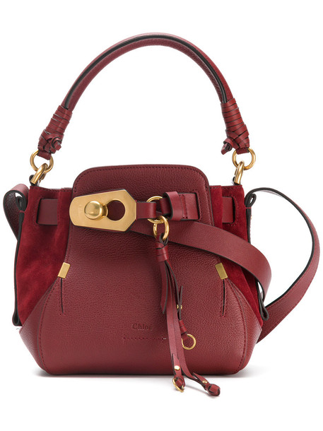 women bag bucket bag leather suede red