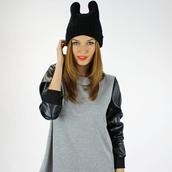 hat,reverse,beanie,cat beanie,hat beanie hair accessories,black beanie,sweater,foxx foe