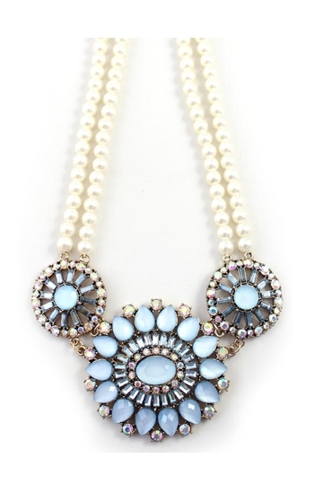Artificial Pearl Necklace with Rhinestone Pendant [FTBJ00236] - PersunMall.com