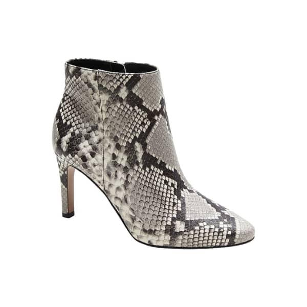 Banana Republic Women's Skinny-Heel Ankle Boot Gray Snake Print Leather Regular Size 6 1/2