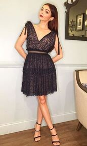 dress,lace dress,lace,celebrity,sandals,shoes,sarah hyland