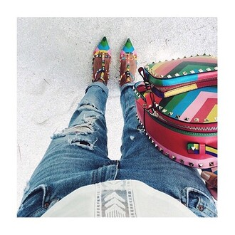 shoes bag hippie high heels jeans