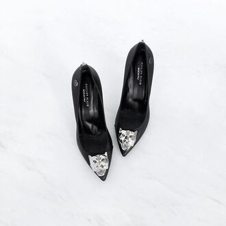 shoes phillip plein phillip plein pumps tiger silver accent black pumps pumps black heels