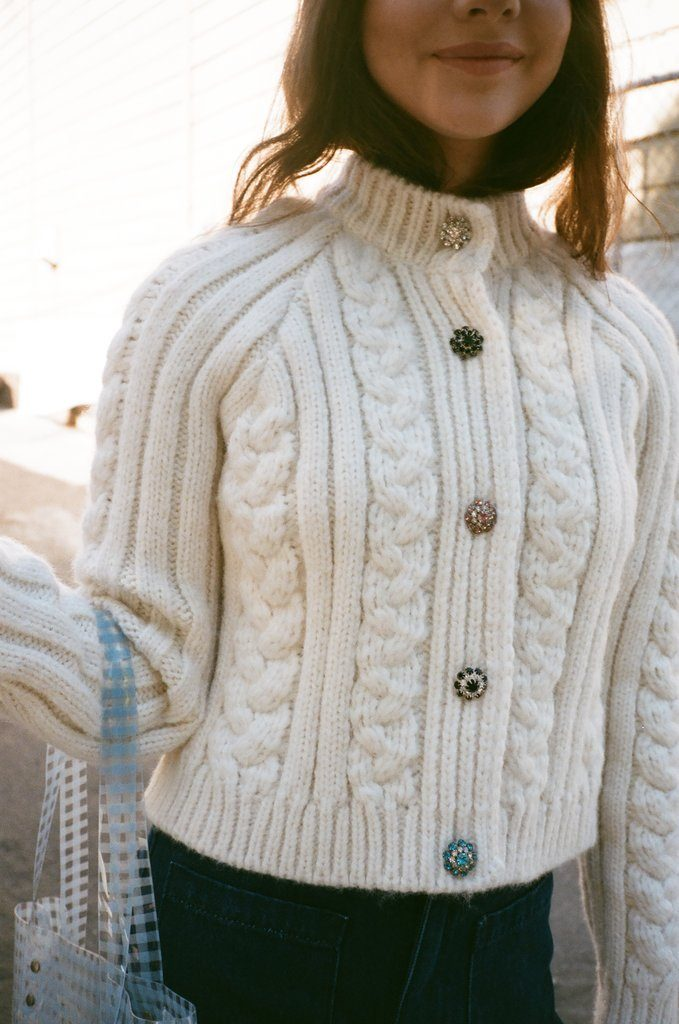 Cable Knit Cardigan - Egret