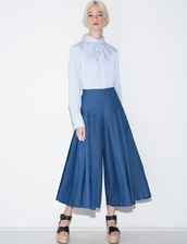 pants,pleated chambray culottes,culottes,denim,chambray