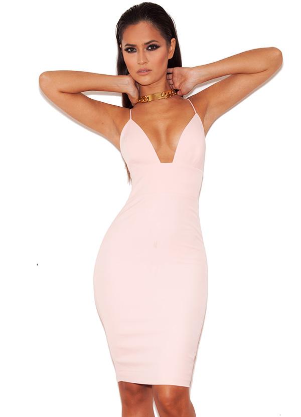 Clothing : Bodycon Dresses : 'Loren' Pink Bralet Shape Bodycon Dress