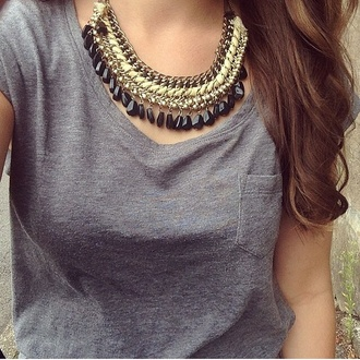jewels gold necklace gold necklace black grey grey tank top tank top top t shirt with pocket shirt