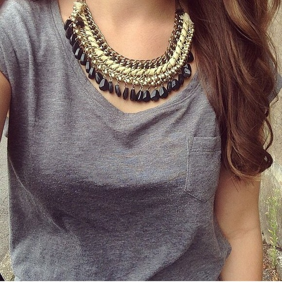 jewels necklace gold top tank top gold necklace grey black grey tank top t shirt with pocket