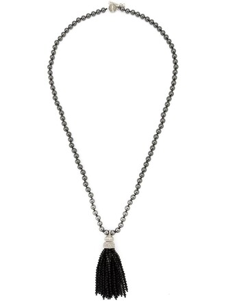 tassel beaded necklace black jewels