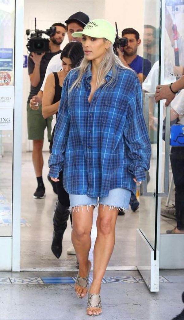 hat cap shirt plaid kim kardashian kardashians denim shorts mules plaid  shirt. 51811db4db7