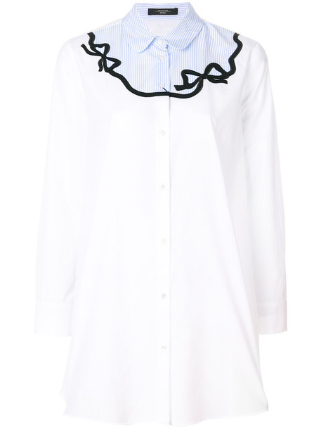 WEEKEND BY MAX MARA shirt bow embroidered women white cotton top