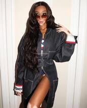 coat,fendi,winnie harlow,model off-duty,denim,instagram,celebrity