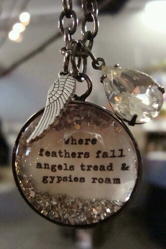 jewels necklace wings feathers angel angels wings gypsies gypsy free love quotes