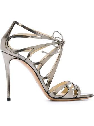 women sandals leather grey metallic shoes