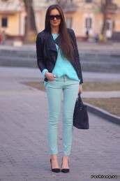 leather ja,mint pants,mint sweater,sweater,pants,jacket,shoes