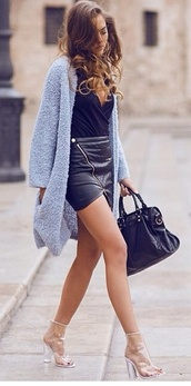skirt,black angle leather skirt,leather skirt,black leather skirt,baby blue fuzzy cardigan,baby blue fuzzy coat,scarf,shoes,blouse,sweater,jacket,pleather,pleather skirt,zip,mini skirt,cardigan,fluffy,soft knit,open front,boyfriend fit,oversized,comfy,pocket sweater