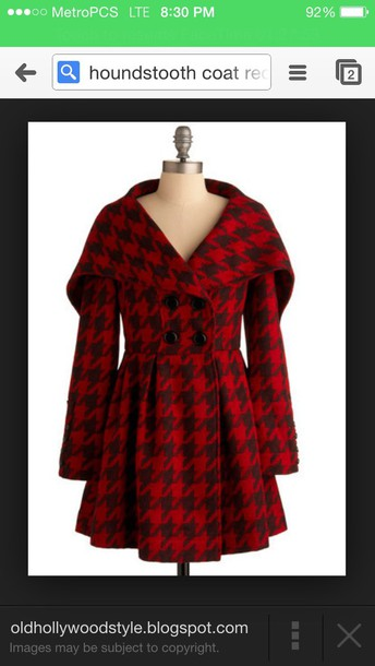 coat red houndstooth