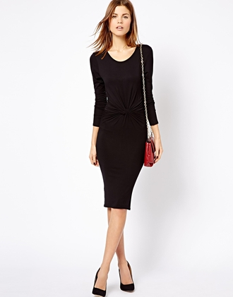 dress dresses knot knotted dress front knot dress black dress black long sleeve dress long sleeve knot dress little black dress
