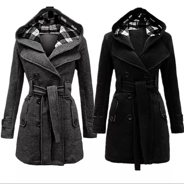 Womens Check Hood Coat Ladies Belted Button Hooded Jacket Fleece ...