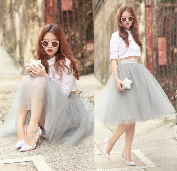 blouse tulle skirt skirt crop tops crop blouse white colorful shoes high heels