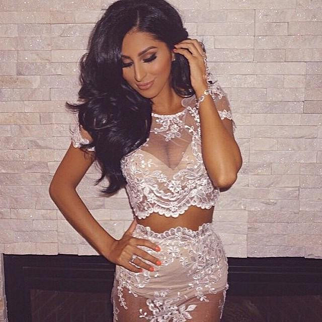 23b5bbfa2e Short Sleeve Scalloped Lace Two Piece Dress Set White