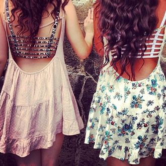 underwear bra pink cute girly dress clothes swimwear floral dress summer dress open back floral flowy blouse pink dress summer ribbed crop tops blue dress brandy melville pretty dress! pretty solid solid dress outfit bralette top mini dress backless dress
