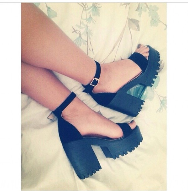 shoes black heels wedges