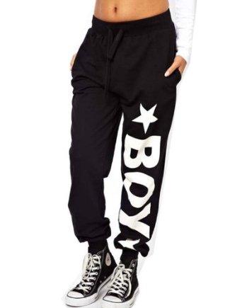 Amazon.com: WIIPU Womens loose hip hop punk sports pants with london boy print(J115): Clothing