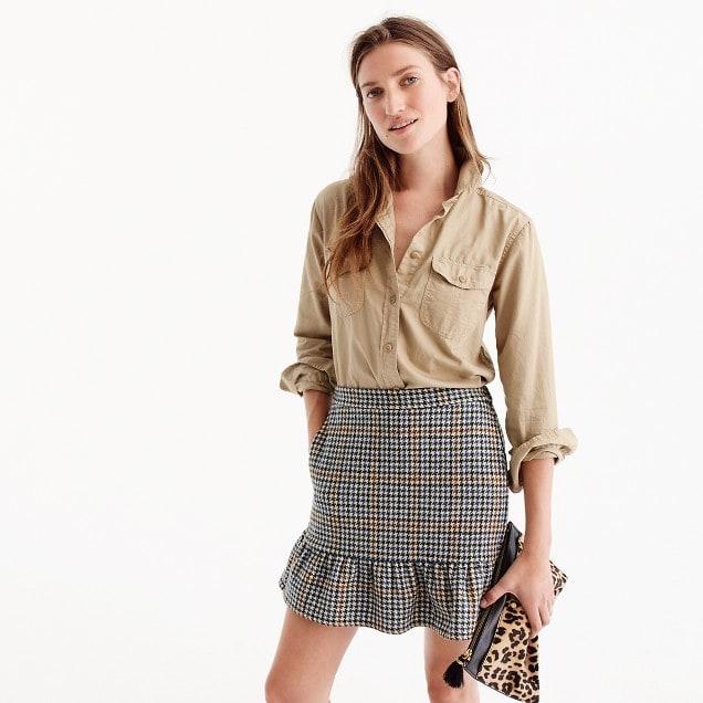 Ruffle mini skirt in houndstooth