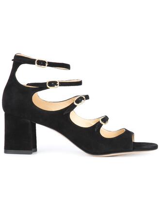women sandals leather suede black shoes