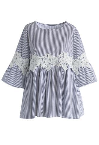 top floral crochet blue stripe stripes