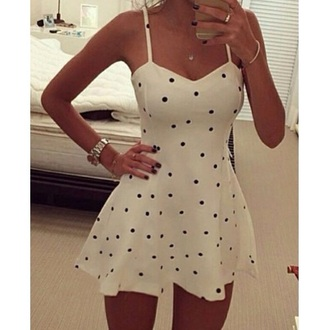 dress polk dot dress pretty polka dots polka dots dress black white swing dress skater skirt skater dress dots spaghetti strap spaghetti straps dress cute cute dress