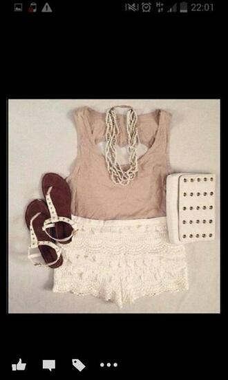 lace white shorts fashion floral whirling dervish necklace withe vip miley cyrus merch bangerz bangerztour