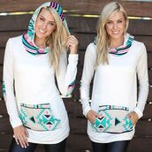sweater,hoodie,print,aztec,mint,fushia,pink,white