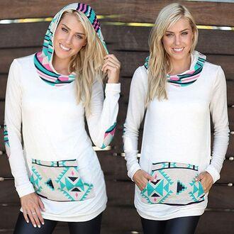 sweater saved by the dress hoodie print aztec mint fushia pink white