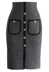 skirt,studded pockets knitted pencil skirt in grey,chicwish,grey,pencil skirt,knitted skirt