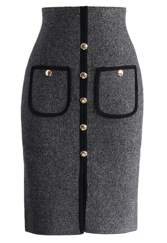 skirt studded pockets knitted pencil skirt in grey chicwish grey pencil skirt knitted skirt