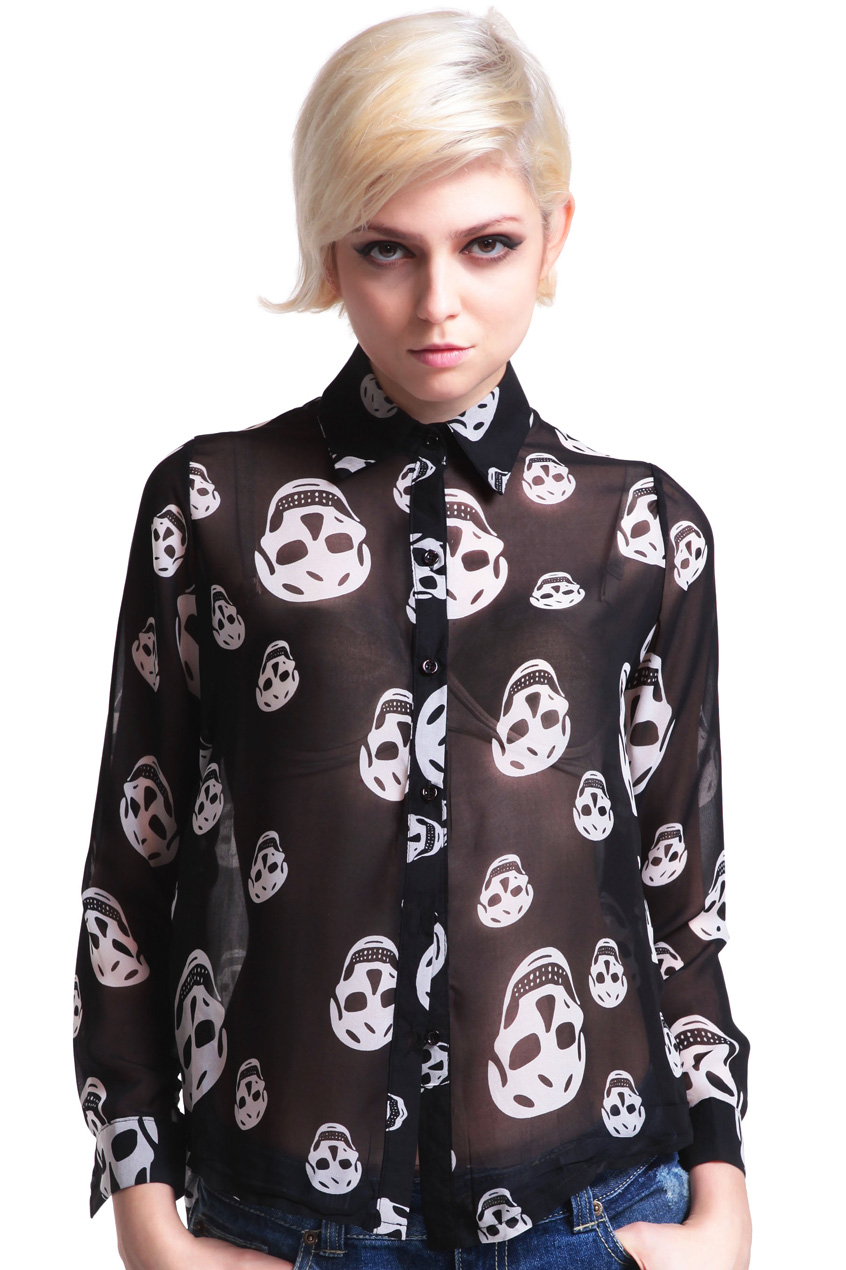ROMWE | Skull Print Sheer Shirt, The Latest Street Fashion