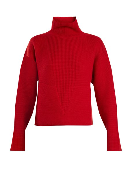sweater high red