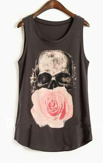 shirt skull t-shirt floral skull flowers dark cool punk
