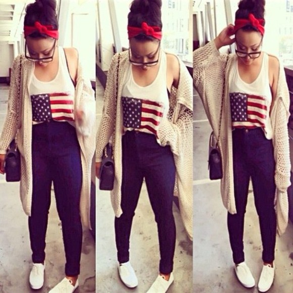 tank top sweater usa flag blue jeans red headband tan sweater glasses cute pretty