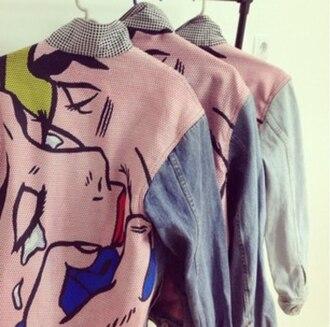 jacket denim hipster vintage girl lips kiss print retro pin style pin up